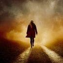 woman, walking, into, distance, sunset, red, raincoat, alone, female, silhouette, silhouetted, blonde, path, track, road, away, crime, coat, atmospheric, looking, searching, grass, verge